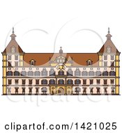 Clipart Of A Austria Landmark Eggenberg Palace Royalty Free Vector Illustration
