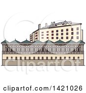 Clipart Of A Austria Landmark Ambras Castle Royalty Free Vector Illustration by Vector Tradition SM