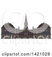 Clipart Of A Denmark Landmark Christiansborg Palace Royalty Free Vector Illustration