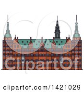 Clipart Of A Denmark Landmark Frederiksborg Castle Royalty Free Vector Illustration