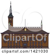 Clipart Of A Denmark Landmark Copenhagen City Hall Royalty Free Vector Illustration