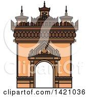 Clipart Of A Laos Landmark Patuxai Arch Royalty Free Vector Illustration