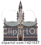Clipart Of A Belgium Landmark St Bavo Cathedral Royalty Free Vector Illustration