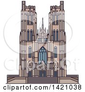 Clipart Of A Belgium Landmark St Michael Catherdral Royalty Free Vector Illustration