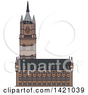 Clipart Of A Belgium Landmark Belfry Of Ghent Royalty Free Vector Illustration