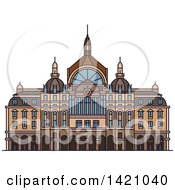 Clipart Of A Belgium Landmark Antwerp Central Station Royalty Free Vector Illustration