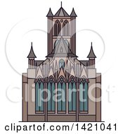 Clipart Of A BLANK Landmark Cathedral Royalty Free Vector Illustration