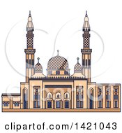 Clipart Of A United Arab Emirates Landmark Jumeirah Mosque Royalty Free Vector Illustration