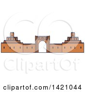 Clipart Of A United Arab Emirates Landmark Al Ain Palace Museum Royalty Free Vector Illustration