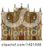 Clipart Of A Spain Landmark Granada Cathedral Royalty Free Vector Illustration