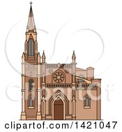 Clipart Of A Spain Landmark Santiago Cathedral Royalty Free Vector Illustration