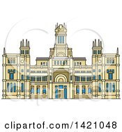 Clipart Of A Spain Landmark Cibeles Palace Royalty Free Vector Illustration
