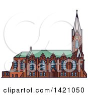 Clipart Of A Finland Landmark Kotkan Church Royalty Free Vector Illustration by Vector Tradition SM