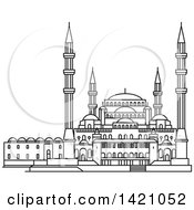 Clipart Of A Black And White Lineart Turkey Landmark Kocatepe Mosque Royalty Free Vector Illustration