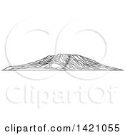 Clipart Of A Black And White Lineart African Landmark Mount Kilimanjaro Royalty Free Vector Illustration