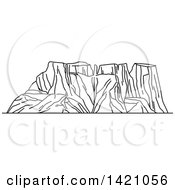 Clipart Of A Black And White Lineart African Landmark Drakensberg Royalty Free Vector Illustration