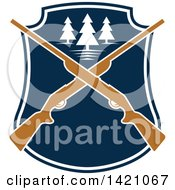 Clipart Of A Crossed Rifle And Trees Hunting Design Royalty Free Vector Illustration