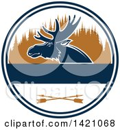 Clipart Of A Moose Hunting Design Royalty Free Vector Illustration