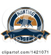 Clipart Of A Wild Boar Hunting Design Royalty Free Vector Illustration