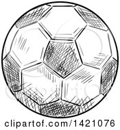Black And White Sketched Soccer Ball