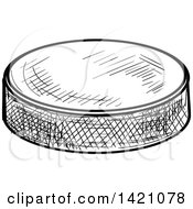Black And White Sketched Ice Hockey Puck