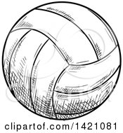 Black And White Sketched Volleyball