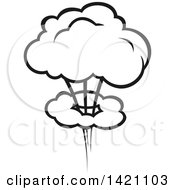 Clipart Of A Black And White Comic Burst Explosion Or Poof Royalty Free Vector Illustration