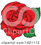 Clipart Of A Sketched Red Rose Flower Royalty Free Vector Illustration by Seamartini Graphics