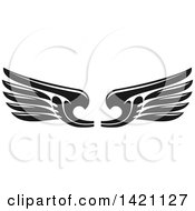 Clipart Of A Pair Of Black And White Feathered Wings Royalty Free Vector Illustration