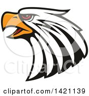 Clipart Of A Firece Bald Eagle Head With Red Eyes Royalty Free Vector Illustration by Vector Tradition SM