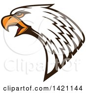 Clipart Of A Firece Bald Eagle Head With Orange Eyes Royalty Free Vector Illustration