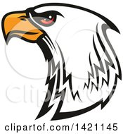 Clipart Of A Firece Bald Eagle Head With Red Eyes Royalty Free Vector Illustration