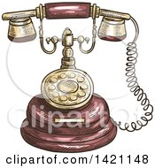 Clipart Of A Sketched And Color Filled Vintage Telephone Royalty Free Vector Illustration