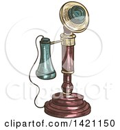 Clipart Of A Sketched And Color Filled Vintage Candlestick Telephone Royalty Free Vector Illustration