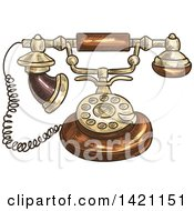 Sketched And Color Filled Vintage Telephone