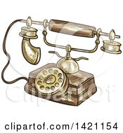 Clipart Of A Sketched And Color Filled Vintage Telephone Royalty Free Vector Illustration by Vector Tradition SM