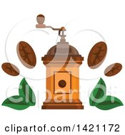 Clipart Of A Vintage Coffee Grinder With Beans And Leaves Royalty Free Vector Illustration by Vector Tradition SM