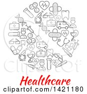 Clipart Of A Round RX Pill Made Of Gray Medical Icons Over Healthcare Text Royalty Free Vector Illustration
