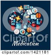 Round RX Pill Made Of Flat Style Medical Icons Over Medication Text On Blue