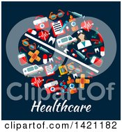 Clipart Of A Round RX Pill Made Of Flat Style Medical Icons Over Healthcare Text On Blue Royalty Free Vector Illustration