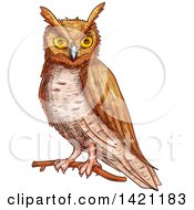 Clipart Of A Sketched And Color Filled Owl Royalty Free Vector Illustration by Vector Tradition SM
