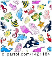 Clipart Of A Seamless Pattern Background Of Sea Animals Royalty Free Vector Illustration by Vector Tradition SM