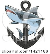 Clipart Of A Shark Swimming Around A Nautical Anchor Royalty Free Vector Illustration by Seamartini Graphics