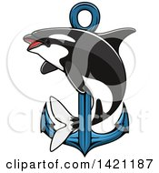 Clipart Of A Killer Whale Orca Swimming Around A Nautical Anchor Royalty Free Vector Illustration by Vector Tradition SM