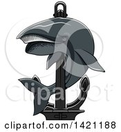 Clipart Of A Whale Swimming Around A Nautical Anchor Royalty Free Vector Illustration by Seamartini Graphics