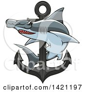Clipart Of A Hammerhead Shark Swimming Around A Nautical Anchor Royalty Free Vector Illustration