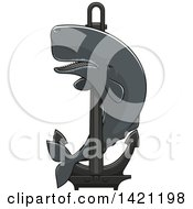 Clipart Of A Cachalot Whale Swimming Around A Nautical Anchor Royalty Free Vector Illustration by Vector Tradition SM