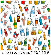 Seamless Pattern Background Of Drinks