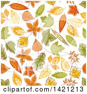 Clipart Of A Seamless Pattern Background Of Autumn Leaves Royalty Free Vector Illustration