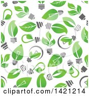 Seamless Background Pattern Of Green Leaf Light Bulbs